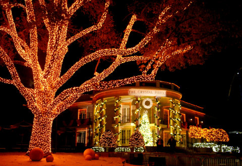 Featuring more than one million LED lights, Six Flags Over Georgia lights up for the third annual Holiday in the Park wintertime celebration. The park features 15 themed sections, including Georgia Peach lights in A Georgia Christmas. (Photo: Six Flags Over Georgia)