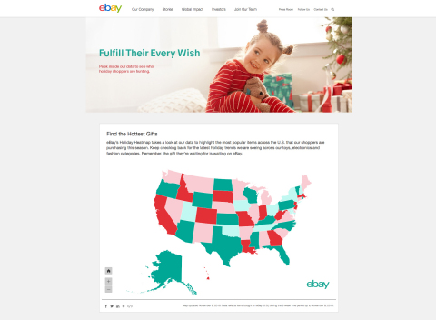 eBay's Holiday Heatmap takes a look at our data to highlight the most popular items across the U.S. that our shoppers are purchasing this season. (Graphic: Business Wire)