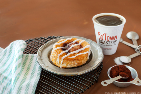 Baked to a golden brown and covered in sweet icing, this tasty cinnamon sweet-treat pairs perfectly with our signature Bo'Town Roasters™ coffee blend. (Photo: Bojangles')