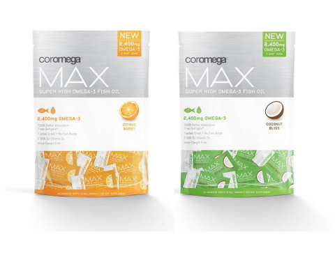 Coromega®, maker of delicious emulsified fish and vegetarian oils designed to provide healthy fats for a healthy life, has unveiled new Coromega Max, a potent new omega-3 squeeze that delivers Coromega's highest omega-3 dosage in two delicious flavors: Orange Citrus Burst and Coconut Bliss. (Photo: Business Wire)