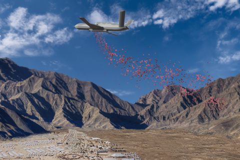 """""""Angel One,"""" an aircraft based on the jet-propelled Predator® RPA system owned and operated by GA-ASI, is capable of delivering 8,500 pounds of Humanitarian Daily Ration packets (HDRs) for 3,400 people each day. (Graphic: Business Wire)"""