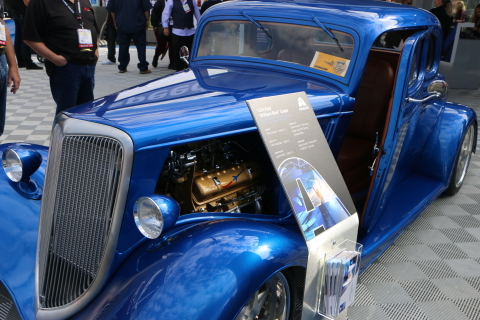 Mark Stuart's 1934 Ford Coupe painted with Axalta's Spies Hecker Permacron Magic Sparkle Effect (MB 590) in Brilliant Blue shines at the Axalta Engineered for Speed booth. (Photo: Axalta)
