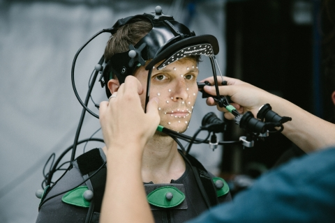 """Intel, the Royal Shakespeare Company and the Imaginarium Studios collaborate on a ground-breaking production of Shakespeare's """"The Tempest,"""" incorporating the most cutting-edge technology. This collaboration has taken more than a year of research to bring digital avatars to life on stage in real-time, interacting with live actors. (Credit: Intel Corporation)"""