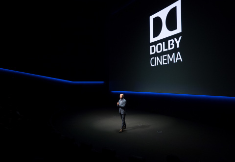 OnThursday November 17, 2016 Dolby LaboratoriesCEO Kevin Yeaman unveiled the Dolby Cinema at 1275, the newest and largest of more than 100 working labs in Dolby's headquarters in San Francisco, California. The cinema entrance features a 40-foot audiovisual pathway with a 7.1 sound system, leading into a 230-plus seat screening room with state-of-the-art Dolby Vision High Dynamic Range laser projection and studio-grade Dolby Atmos immersive audio.(Photo: Business Wire)