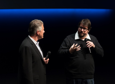 OnThursday, November 17, 2016, Doug Darrow, Senior Vice President, Cinema Business Group at Dolby Laboratories, and Ben Rosenblatt, co-producer of Star Wars Episode 7: The Force Awakens, present at the premiere of the Dolby Cinema at 1275. (Photo: Business Wire)