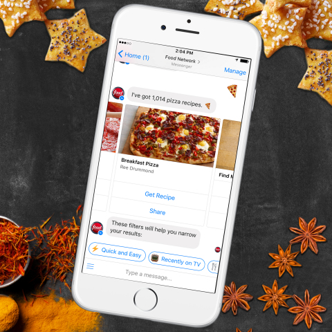 Just in time for the holidays, Food Network's new bot for Facebook Messenger serves up fresh recipes through fun, friendly one-on-one conversations. (Photo: Business Wire)