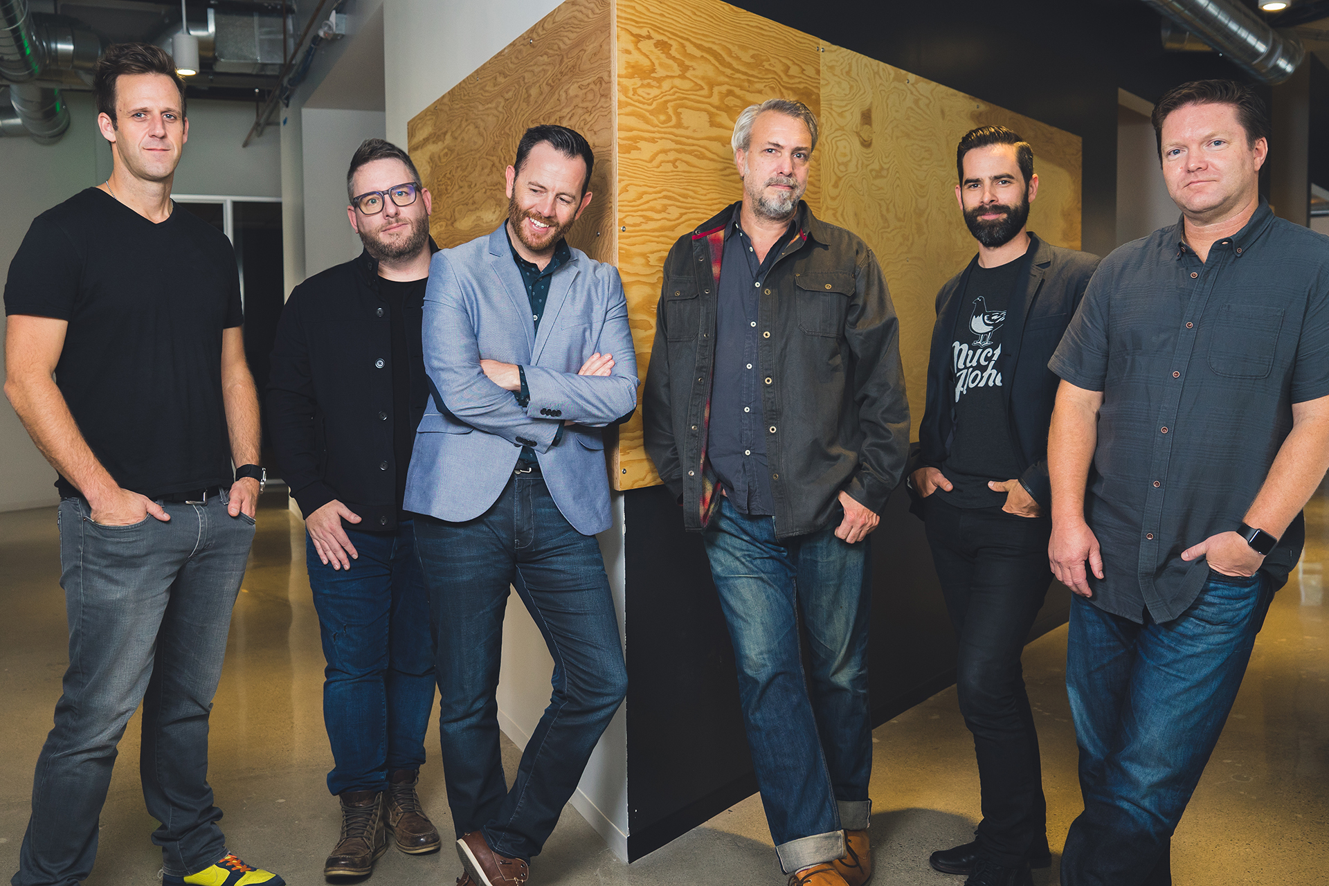 From L-R: Founder & CCO Zach Lyons, President & CSO Jeff Roach, SVP Media Tim Walsh, SVP Creative & ECD John Zegowitz, Founder & CEO James Schiefer, COO Dan Mickelsen. Not shown: Founder & SVP Business Affairs Ken Anderson. (Photo: Business Wire)