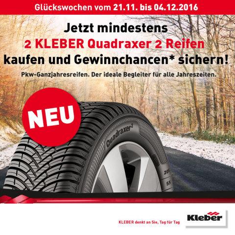 W&aumlhrend der KLEBER-Glückswochen auf ReifenDirekt.de lohnt sich das Umrüsten auf neue Pneus gleich me ...