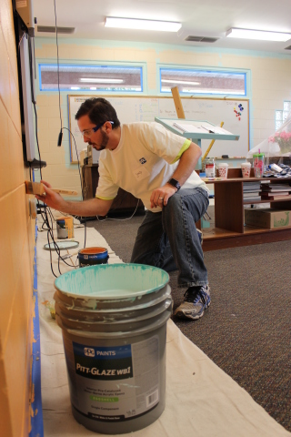As part of its Colorful Communities program, PPG helped to brighten three classrooms at Academy Prep ...