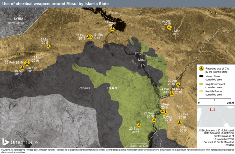 Use of chemical weapons around Mosul by Islamic State (Graphic: Business Wire)