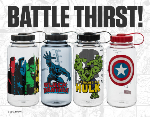 """""""Heroes Hydrate!"""" line of Marvel-inspired Nalgene reusable water bottles. (Photo: Marvel)"""