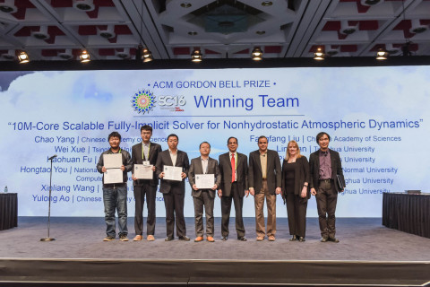 Gordon Bell Prize winners at SC16. (Photo: Business Wire)