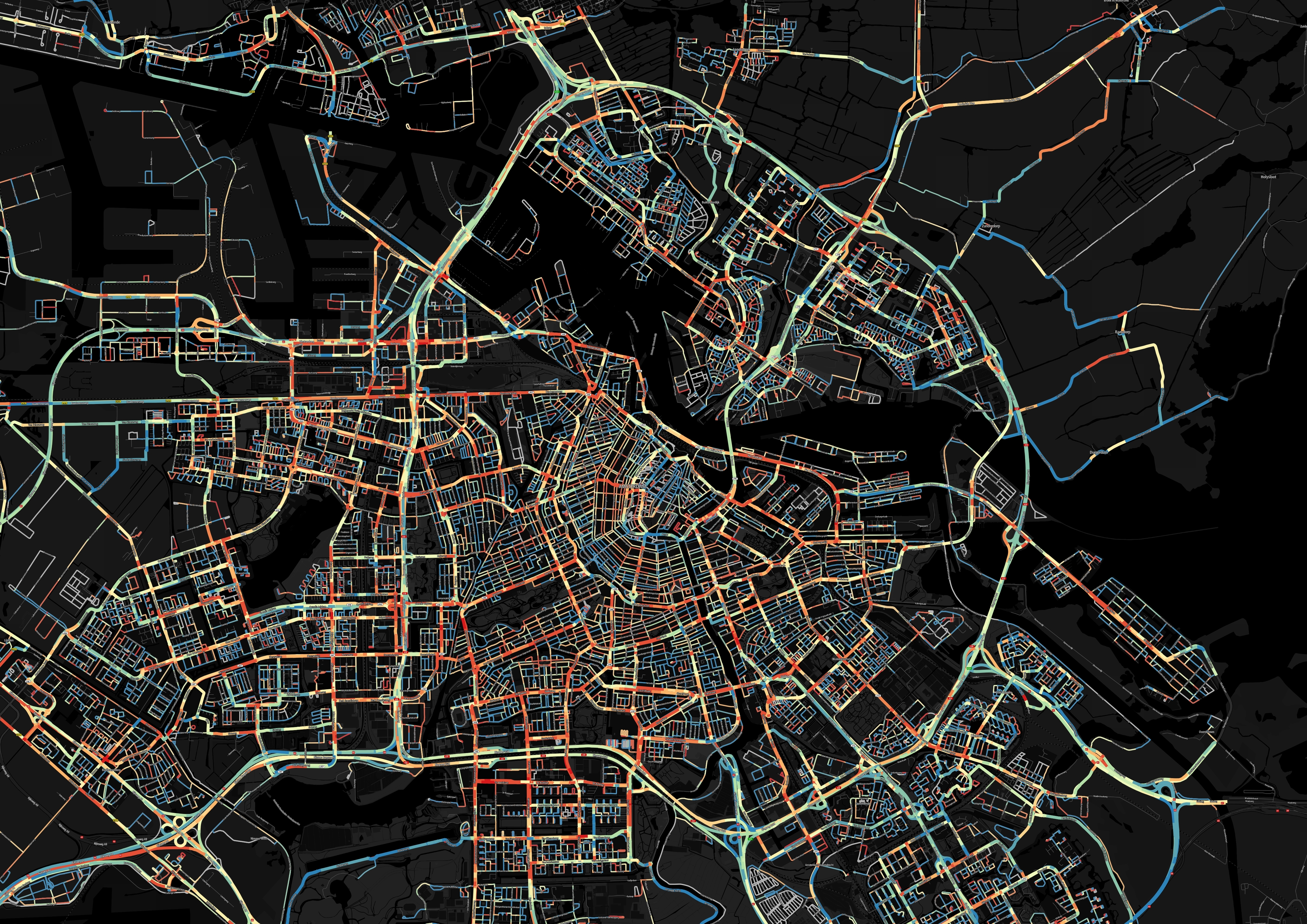 Image shows congestion on the morning of an average working day in and around Amsterdam. Red indicates heavy traffic flow, blue indicates roads with lighter traffic (Photo: Business Wire)