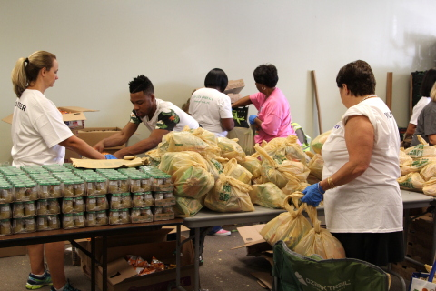 Volunteers at Nourishment Network/The Food Bank of North Florida (LSS), Jacksonville, Fla., sort thr ...