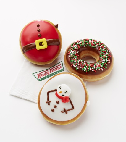 The Santa Belly Doughnut, Melted Snowman Doughnut and the Holiday Sprinkle Doughnut are available now at participating Krispy Kreme Doughnuts shops. (Photo: Business Wire)