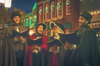 Guests visiting Six Flags St. Louis for the new Holiday in the Park will take a step back in time as carolers sing holiday classics while strolling among the dazzling lights and festive decorations. Live, holiday-themed entertainment as well as seasonal foods, visits with Santa and Mrs. Claus are just some of the thrills that await guests in this winter wonderland. (Photo: Business Wire)