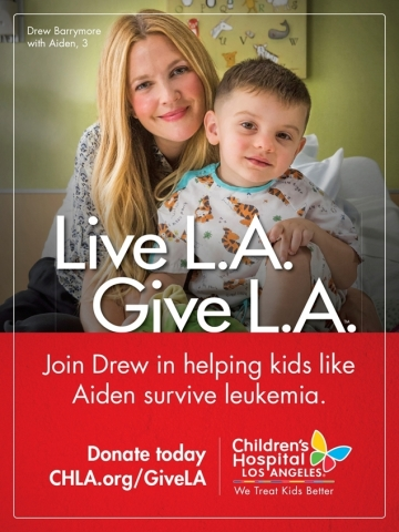 Drew Barrymore, Golden Globe winning actress, entrepreneur, mother and longtime hospital supporter, is leading the 2016 Live L.A. Give L.A. campaign, inspiring families to give to Children's Hospital Los Angeles. (Graphic: Business Wire)