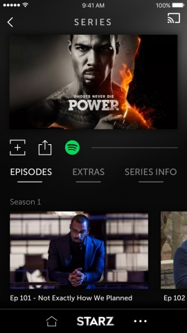 STARZ app offers a premium pay TV first by integrating Spotify music streaming service into its platform, immersing Spotify music experience into its premium video experience for STARZ Original series and other STARZ premium movie and television content. (Photo: Business Wire)