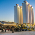 The Solaris Mobile Sand Silo System at work in the Permian Basin. This standard six-silo configuration provides 2.5 million pounds of well-site proppant. (Photo: Business Wire)