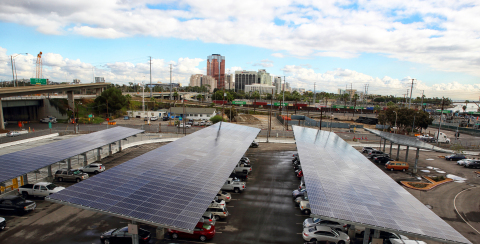 The 3,290 Mitsubishi Electric solar panels cover carports at Long Beach Container Terminal. (Photo: Glen Marzano)