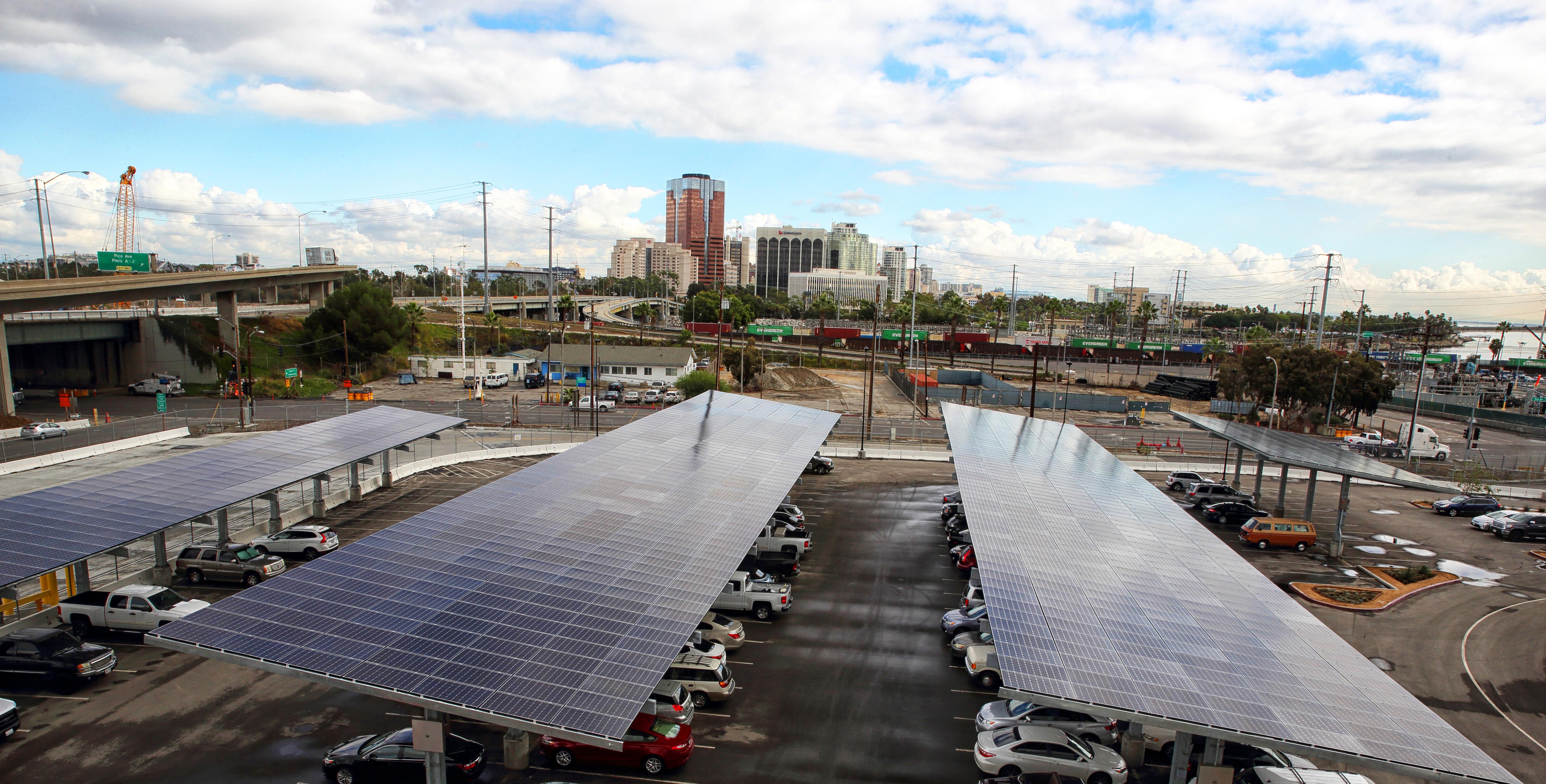 The 3,290 Mitsubishi Electric solar panels cover carports at Long Beach Container Terminal. (Photo: Glen Marzano)