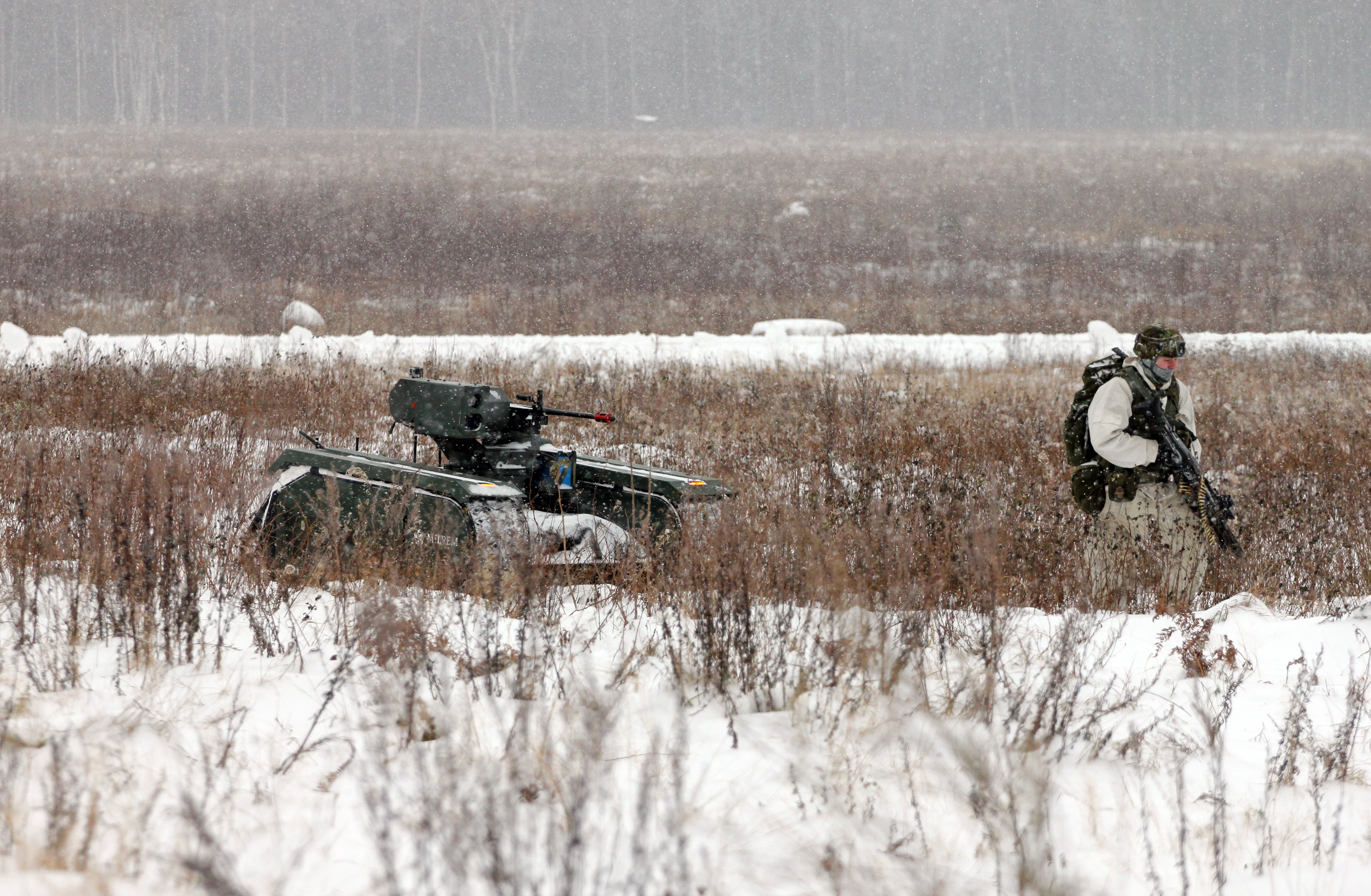 The THeMIS ADDER in action with Estonian Defence Forces soldiers.