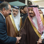 Andrew Liveris, CEO of Dow, is greeted by H.M. King Salman bin Abdul-Aziz Al Saud (right), and Amin Nasser, CEO of Saudi Aramco (middle). (Photo: Business Wire)