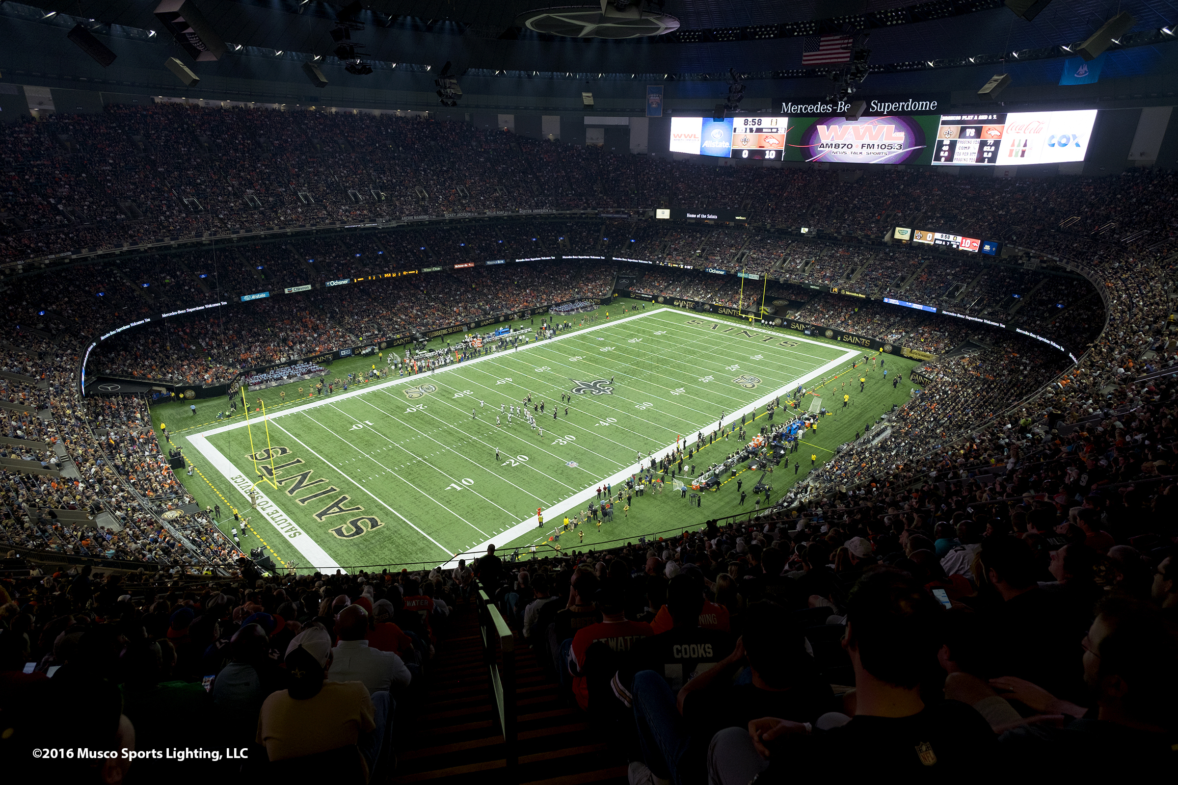 Musco's innovative lighting solution provides an unparalleled environment for spectators while reducing energy consumption by 82 percent. (Photo: Business Wire)