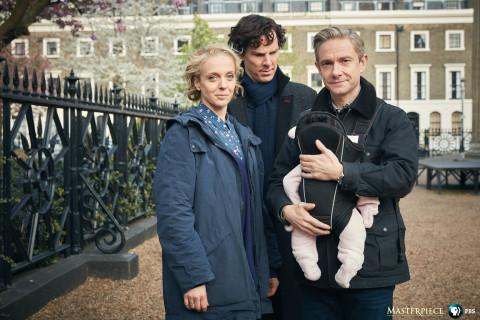 """Sherlock"" on MASTERPIECE: Mary Watson (AMANDA ABBINGTON), Sherlock Holmes (BENEDICT CUMBERBATCH) and John Watson (MARTIN FREEMAN). Courtesy of Robert Viglasky/Hartswood Films 2016 for MASTERPIECE."
