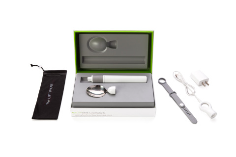The Liftware Level Starter Kit starts at $195. It comes with the leveling handle, a soup spoon attachment, a travel pouch, a hand strap, and a charger. (Photo: Business Wire)