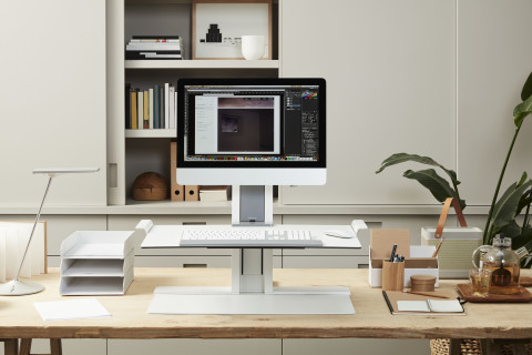 Humanscale's QuickStand desk as can be seen at the new Thrive Global pop-up shop. (Photo: Business Wire)