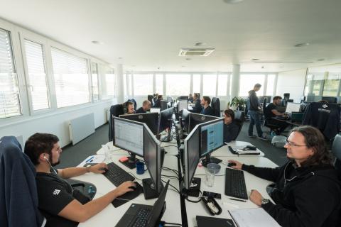 Bitmovin video infrastructure API development team (Photo credit: Arnold Poeschl) (Photo: Business Wire)