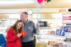 A Hunt Brothers Pizza account manager surprises a Hoskinston, Kentucky, small business owner with the news that she has won a pizza shoppe upgrade. (Photo: Business Wire)