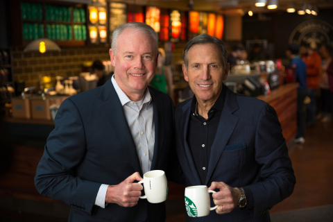 Kevin Johnson, president and coo of Starbucks, will expand role to ceo effective April 3, 2017. Howard Schultz, chairman and ceo, will be appointed executive chairman. (Photo: Business Wire)