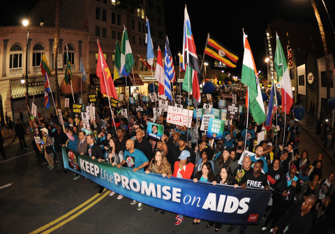 More than a thousand advocates, including entertainers Common, JoJo, Rosie Perez, and others, take part in AIDS Healthcare Foundation's 'Keep the Promise' March in Hollywood, CA on Nov. 30, 2016. The march took place down historic Hollywood Boulevard on the eve of World AIDS Day to raise awareness about HIV/AIDS and to persuade key decision makers in the U.S. and around the globe to 'keep the promise' and commit more funds to HIV/AIDS prevention, care and treatment. A free Keep the Promise concert at the Dolby Theatre headlined by Patti LaBelle and Common and honoring legendary entertainer and humanitarian Harry Belafonte for his charitable work followed the march. (Carlos Delgado/AP Images for AIDS Healthcare Foundation)