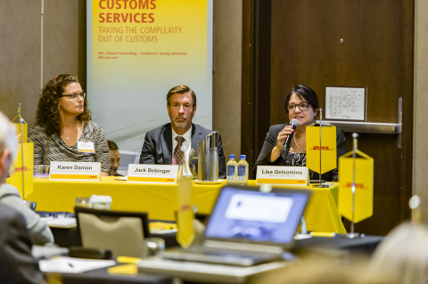 "DHL Global Forwarding's ""The Evolving World of Customs"" seminar in Chicago, Illinois, from left to right: Karen Damon, Sr. Director, Compliance Import & Regulatory Affairs at DHL Global Forwarding U.S.; Jack Bebinger, Assistant/Center Director at the U.S. Customs Border Protection CEE; and Lisa Gelsomino, President/CEO of Avalon Risk Management (Photo: Business Wire)"