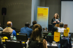 """Karen Damon, senior director of Compliance Import and Regulatory Affairs for DHL Global Forwarding speaks to DHL customers at """"The Evolving World of Customs"""" seminar in Atlanta, Georgia. (Photo: Business Wire)"""
