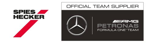 Spies Hecker®, Official Team Supplier for the MERCEDES AMG PETRONAS Formula OneTM Team. (Graphic: Axalta)