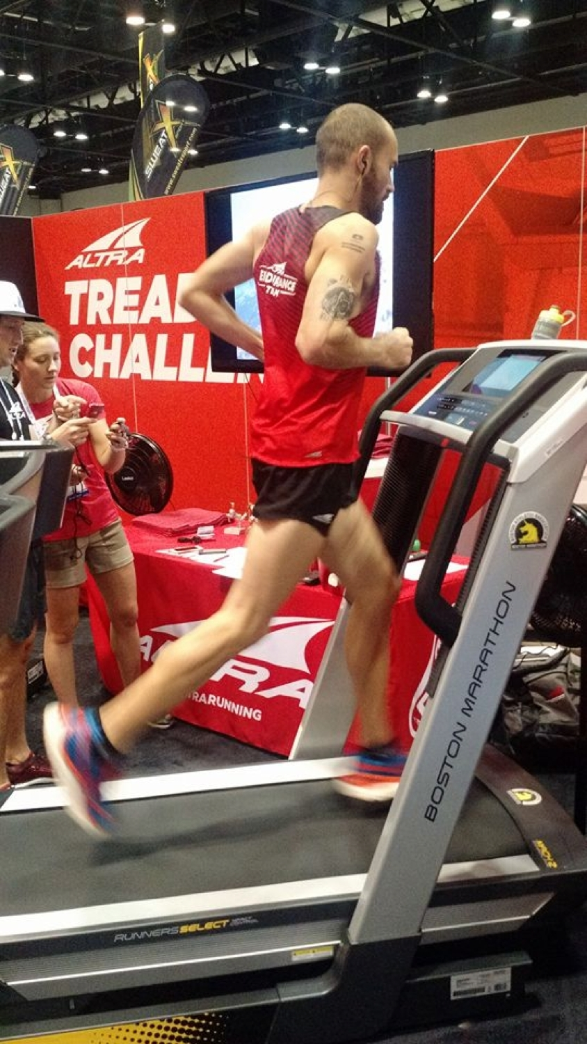 Altra Elite Athlete Jacob Puzey set the new world record for fastest 50-miler on a treadmill with a time of 4:57:45. Puzey is an accomplished ultrarunner who ran the entire 50 miles on a ProForm Boston Marathon Treadmill at The Running Event trade show in Orlando. (Photo: Altra)