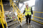 Alan McKim, chairman and CEO of Clean Harbors, tours new hazardous waste incinerator facility in El Dorado, Ark., on Dec. 6, 2016. (Gareth Patterson/AP Images for Clean Harbors)