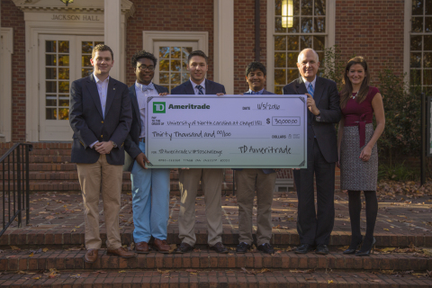 The 2016 winners of TD Ameritrade's thinkorswim Challenge from UNC-Chapel Hill. Pictured from left to right: Grahme Taylor, Nyatefe Mortoo, Alex Bryan and Dhru Patel, with Steve Farmer, Vice Provost for Enrollment and Undergraduate Admissions for UNC-Chapel Hill and Mary Ryan, TD Ameritrade (Photo: TD Ameritrade).