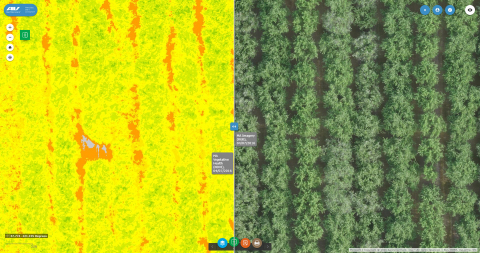 AeroVironment and Fresno State begin field research using advanced drone imagery and data analysis to identify water stress in almond production (Photo: Business Wire)