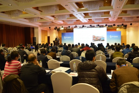 Carey Ross, Chief Financial Officer at Spectro Scientific addresses group of customers, business associates, government representatives, and members of the Chinese Academy of Sciences in Beijing recently. (Photo: Business Wire)