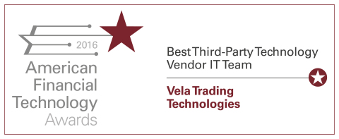 Vela wins at American Financial Technology Awards 2016 (Graphic: Business Wire)
