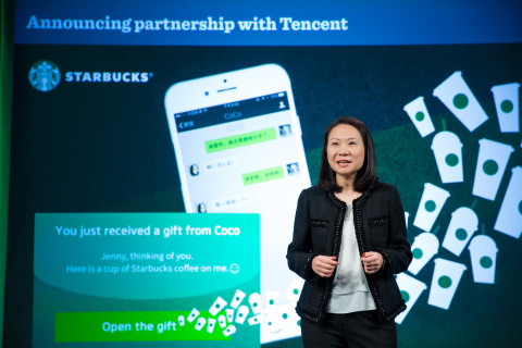 Belinda Wong, ceo, Starbucks China announces strategic partnership with Tencent to create a new social gifting experience and an additional mobile payment option in China. (Photo: Business Wire)