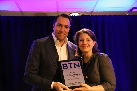 HRS CEO Tobias Ragge accepts plaque from Business Travel News Editor-in-Chief Elizabeth West. Mr. Ragge was named among the 25 Most Influential Business Travel Executives in 2016. (Photo: Business Wire)
