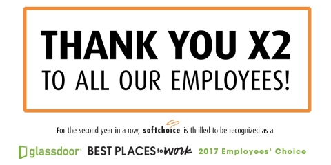 Softchoice has been honored for the second year in a row with a Glassdoor Employees' Choice Award, recognizing the company as one of the Best Places to Work in 2017. (Graphic: Business Wire)