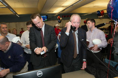 Peyton and Archie Manning took part in ICAP's 24th annual global Charity Day at its North American headquarters in Jersey City, NJ, on December 7, 2016. On this day, 100% of company revenues and commissions will be donated to a selection of over 200 charities worldwide including 54 in the US.
