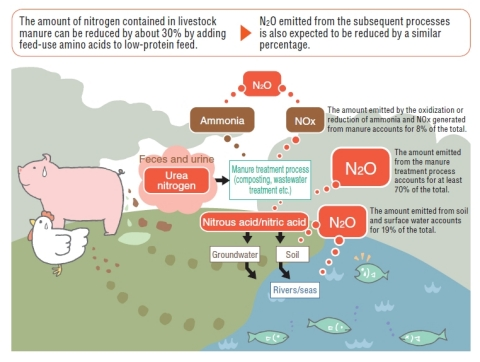 *1 Mechanism of greenhouse gas (N2O) generation from livestock waste and breakdown of its components (Graphic: Business Wire)