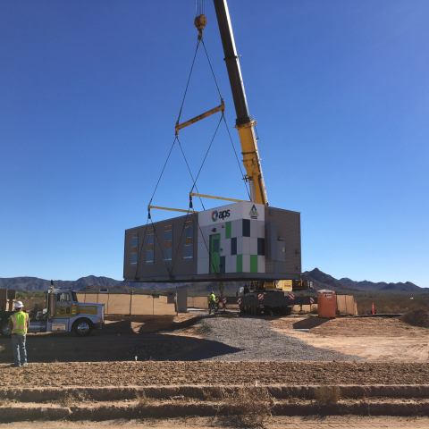 Arizona Public Service is partnering with AES Energy Storage to implement a 4 megawatt battery-based energy storage as part of APS's Solar Partner Program (SPP). The pair of 2-MW AES Advancion® energy storage arrays, which will provide enough storage capacity to power 1,000 homes, represent AES' first installation in Arizona. (Photo: Business Wire)
